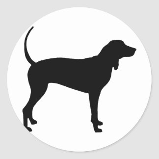 Coonhound Dog (black) Classic Round Sticker