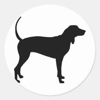 Coonhound Dog black Round Sticker