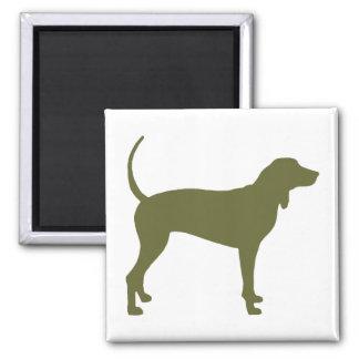 Coonhound Dog (olive green) 2 Inch Square Magnet