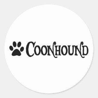 Coonhound (estilo del pirata con el pawprint) pegatina redonda