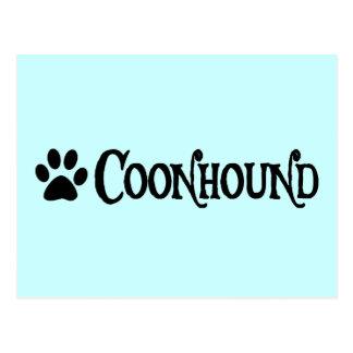 Coonhound estilo del pirata con el pawprint tarjeta postal