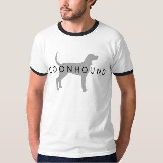 Coonhound (gris de plata con el texto) playera