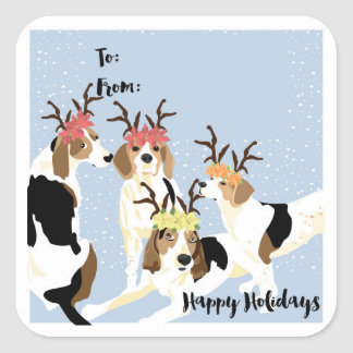 Coonhound Holiday Gift Tag Square Sticker
