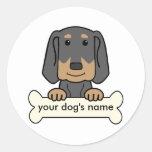 Coonhound negro y del moreno personalizado etiqueta redonda