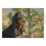 Coonhound negro y del moreno tarjeta