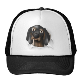 Coonhound (negro y moreno) que revienta hacia fuer gorro de camionero