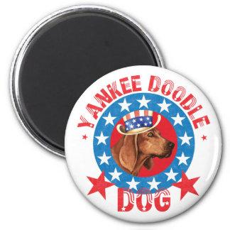 Coonhound patriótico de Redbone Imán Redondo 5 Cm