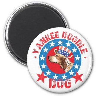Coonhound patriótico del inglés americano imán redondo 5 cm