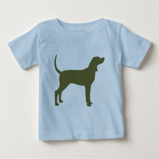 Coonhound Silhouette (olive green) Baby T-Shirt