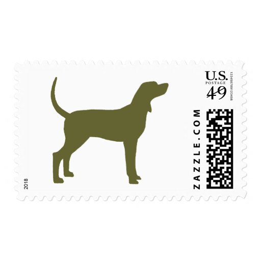 Coonhound Silhouette (olive green) Postage