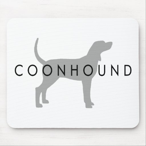Coonhound (silver grey w/ text) mouse pads