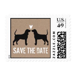 Coonhounds que casan reserva la fecha estampillas