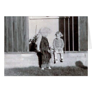 coonskin kid and girl greeting card