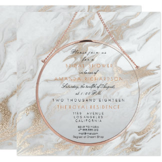 Cooper Bridal Shower Pearly Pink Marble White Gray Card