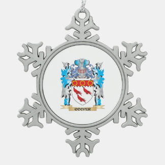 Cooper Coat of Arms - Family Crest Snowflake Pewter Christmas Ornament