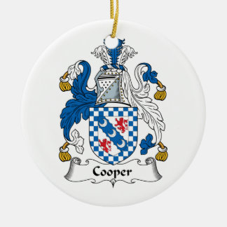 Cooper Family Crest Double-Sided Ceramic Round Christmas Ornament
