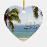 Cooper Island British Virgin Islands Double-Sided Heart Ceramic Christmas Ornament