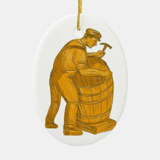 Cooper Making Wooden Barrel Drawing Ceramic Ornament