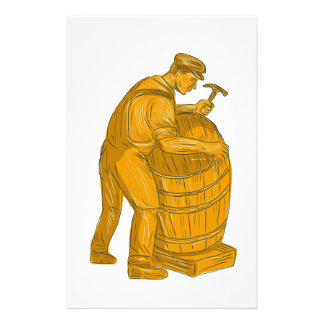 Cooper Making Wooden Barrel Drawing Stationery