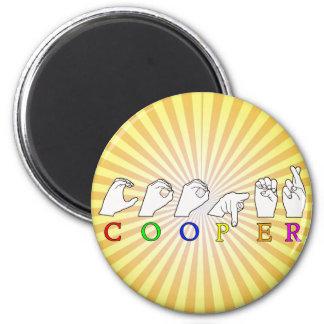 COOPER  NAME ASL FINGERSPELLED SIGN 2 INCH ROUND MAGNET