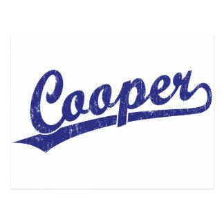 Cooper script logo in blue postcard
