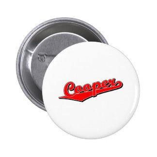 Cooper script logo in red 2 inch round button