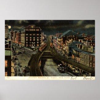 Cooper Square at Night New York City 1907 Vintage print