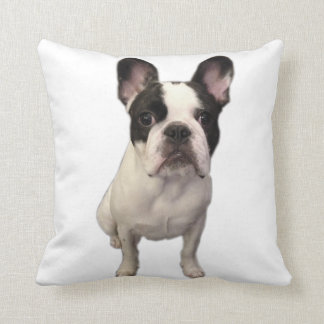 Cooper the Frenchie says WOOF Throw Pillow