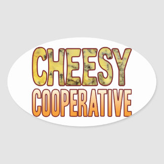 Cooperative Blue Cheesy Oval Sticker