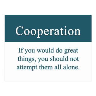 Coopere con otros para la grandeza postales