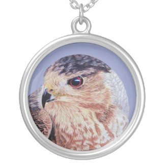 Coopers Hawk Round Pendant Necklace