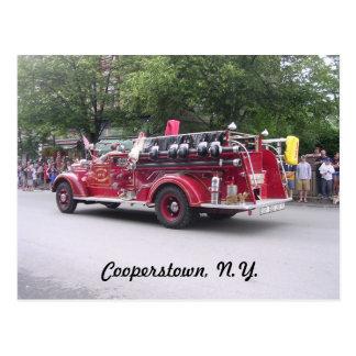 Cooperstown, N.Y. retiró el coche de bomberos Tarjeta Postal