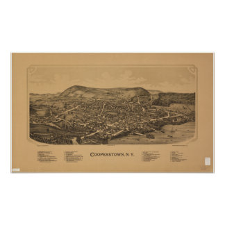 Cooperstown New York 1890 Antique Panoramic Map Poster