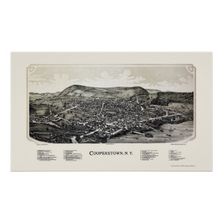 Cooperstown, NY Panoramic Map - 1890 Poster