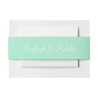 Coordinación exclusiva del color de la menta lazos para invitaciones de boda