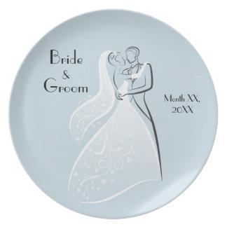 Coordinación retra azul de los bailarines del boda plato de comida