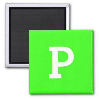 Coordinación verde de neón del color del monograma imán cuadrado