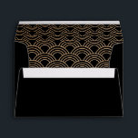 """Coordinating Art Deco Fans Black Beige Gold Envelope<br><div class=""""desc"""">A co-ordinating custom envelope in black and golden beige tones to use with the Gatsby Art Deco Fans weddig invitations from ArtformTheHeart. Plain black to the outside,  with a double framed box to the front for handwritten addresses. The inside flap features the deco fans pattern.</div>"""