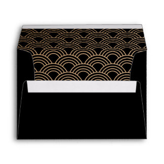 Coordinating Art Deco Fans Black Beige Gold Envelope
