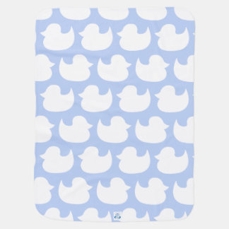 Coordinating Blue and White Duck Pattern Receiving Blanket