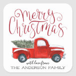 "Coordinating Christmas Sticker - Vintage Red Truck<br><div class=""desc"">Stick a finishing touch on your correspondence. Even the postman will flash a smile when he spies the sweet seals that adorn your holiday card envelope. Create beautiful custom envelope seals to add a special touch to all your stationery. Add your custom wording to this design by using the ""Edit...</div>"