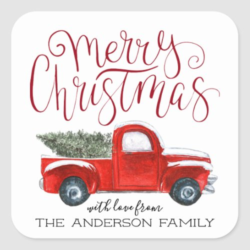 Coordinating Christmas Sticker _ Vintage Red Truck