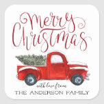 """Coordinating Christmas Sticker - Vintage Red Truck<br><div class=""""desc"""">Stick a finishing touch on your correspondence. Even the postman will flash a smile when he spies the sweet seals that adorn your holiday card envelope. Create beautiful custom envelope seals to add a special touch to all your stationery. Add your custom wording to this design by using the &quot;Edit...</div>"""