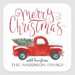 """Coordinating Christmas Sticker - Vintage Red Truck<br><div class=""""desc"""">Stick a finishing touch on your correspondence. Even the postman will flash a smile when he spies the sweet seals that adorn your holiday card envelope. Create beautiful custom envelope seals to add a special touch to all your stationery. Add your custom wording to this design by using the """"Edit...</div>"""