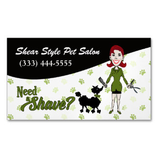 Coordinating Green Need a Shave? Funny Custom Magnetic Business Card