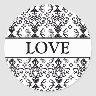 Coordinating Heart Damask Envelope Seals Classic Round Sticker