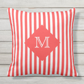 Coordinating Salmon Stripes and Monogram Outdoor Pillow