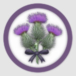 Coordinating Scottish Thistles with Tartan Bow Round Stickers