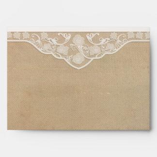 Coordinating Vintage Canvas & Lace Look Envelopes
