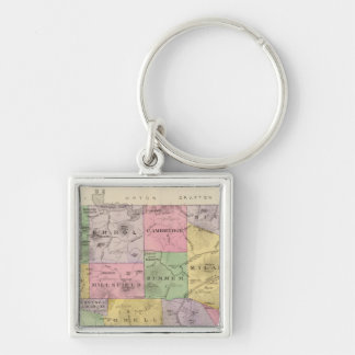 Coos County, NH Silver-Colored Square Keychain